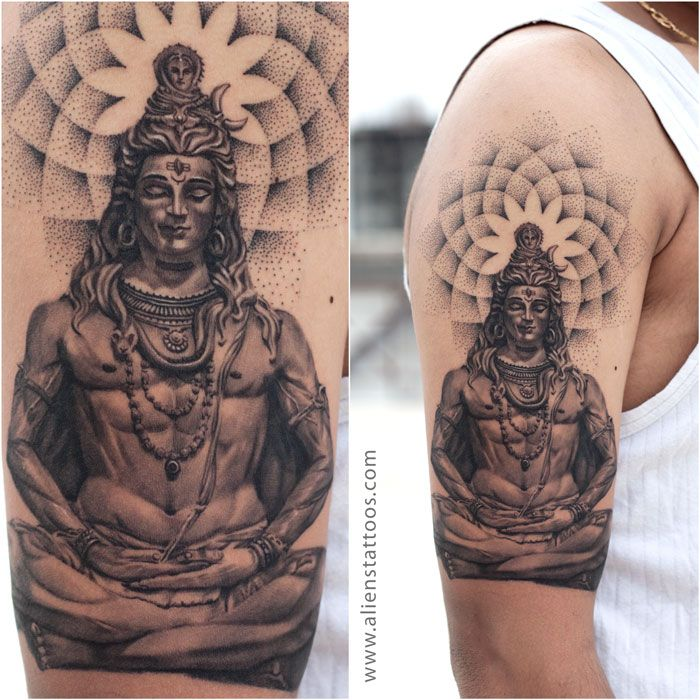 """Lord Shiva with Dotwork Tattoo by Sunny Bhanushali, Aliens Tattoo, India. Did this tattoo on """"TOUR to PUNE"""". First tattoo of this tour and its just awesome. Client was sure about the lord shiva theme however he was keen on adding dotwork as he liked my work on dotwork tattoos. Used the reference of statue of Lord shiva and added dotwork mandala. Here it is, check it out, its beautiful and blissful, isn't it?. Short if you like it."""