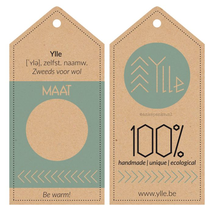 Product tags design for Ylle (handmade knitwear webshop) by http://ankepanke.n