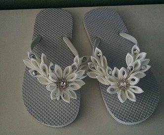 Kanzashi bridal flip flops