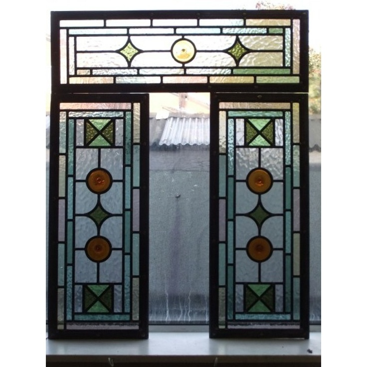 093 Hand Made Stained glass Victorian for 3 panels -National Trust Colours - (look at top)