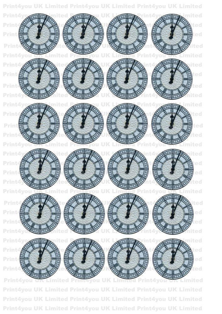 24 icing cupcake cake toppers edible New clock face