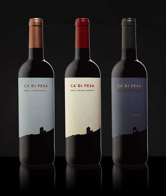 Beautiful die cut and foil printed labels for Ca' di Pesa wines by Konnect Design