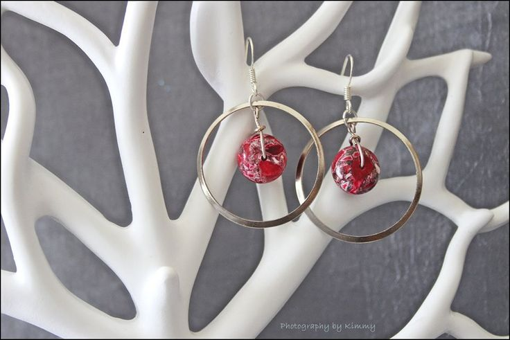 Red natural stone beads in silver circle earrings