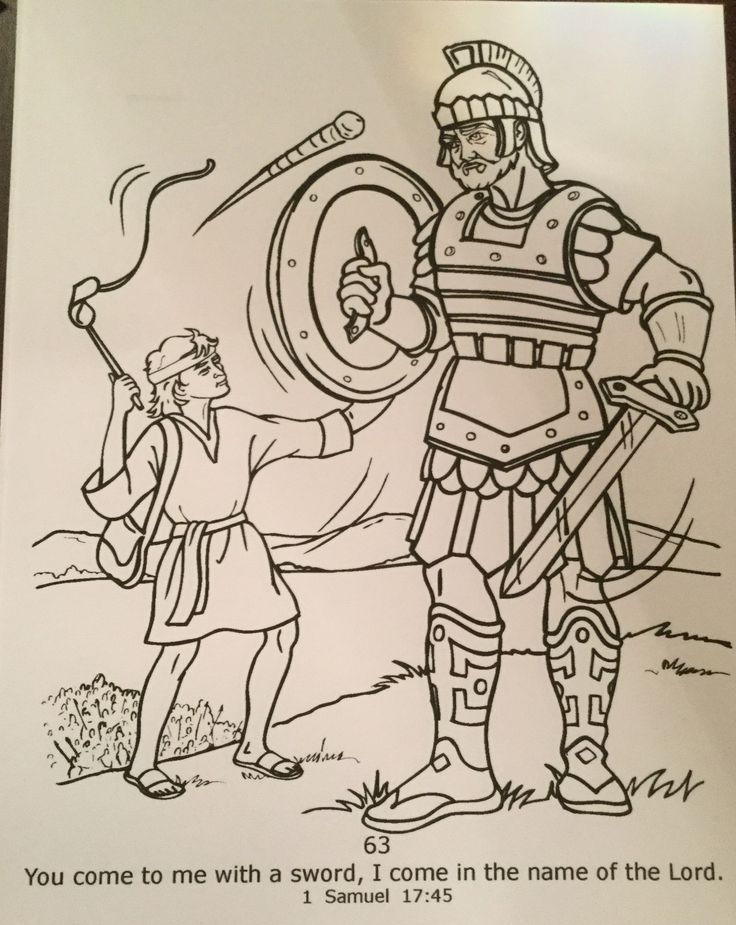 David and Goliath color sheet David and goliath, Bible