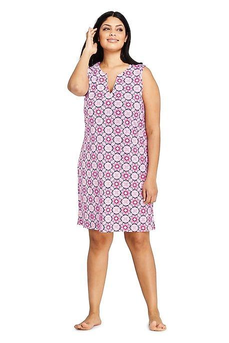 1bc39e9ac9 Women's Plus Size Cotton Jersey Sleeveless Tunic Dress Swim Cover-up Print  from Lands'