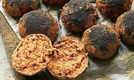Dan Lepard's beet bacon buns: Good for burgers, or flattened into baps. Photograph: Colin Campbell for the Guardian