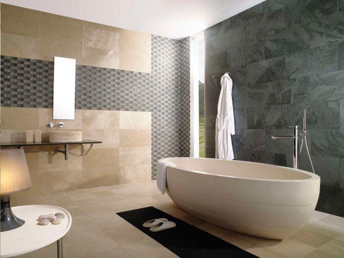 Zimmer Einrcihten Badezimmer In Beige Und Grau Freistehende Badewanne Mosaik Flesen Badewanne Ovale Badewanne Badezimmer