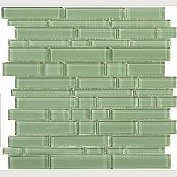 Green glass tile backsplash