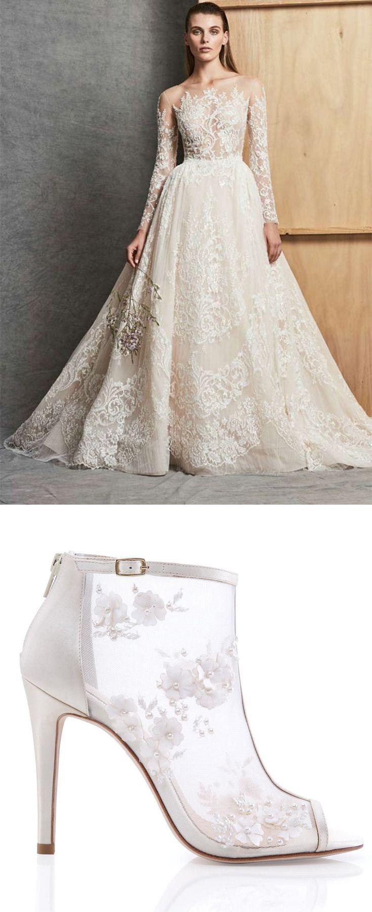 Belle Flower Chiffon Pearl Wedding Bootie Zuhair Murad Bridal