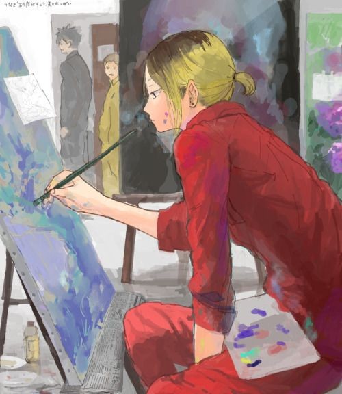 "OMG! kenma kozume in art class !!!! (Hinata voice please) :""WOW""    :p"