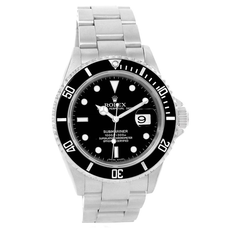 14536 Rolex Submariner Stainless Steel Black Dial 40mm Mens Watch 16610 SwissWatchExpo
