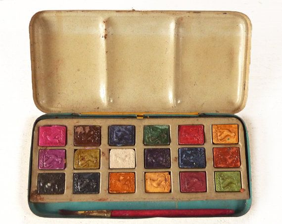 Antique  PAINT BOX   Watercolours by LaLoupiote on Etsy, $58.00