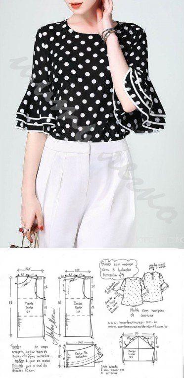 ¡El sastre • la Costura, el rehacimiento - es fácil! Bluzka con la manga. Las dimensiones de 36-56 (euros)