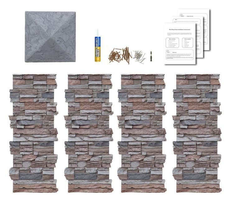 Faux Stone Column Wraps With Easy Install Kit - Pole Wrap, Post Covers - - Amazon.com
