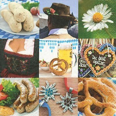 Lunch Servietten Oktoberfest Brezel Maß Bier Weisswurst Dirndl - Servietten Versand Tischdeko Kerzen OnlineShop