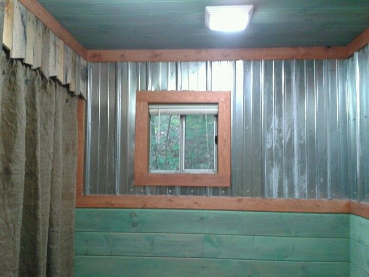 Washed paint walls & metal siding for a rustic cabin  bathroom