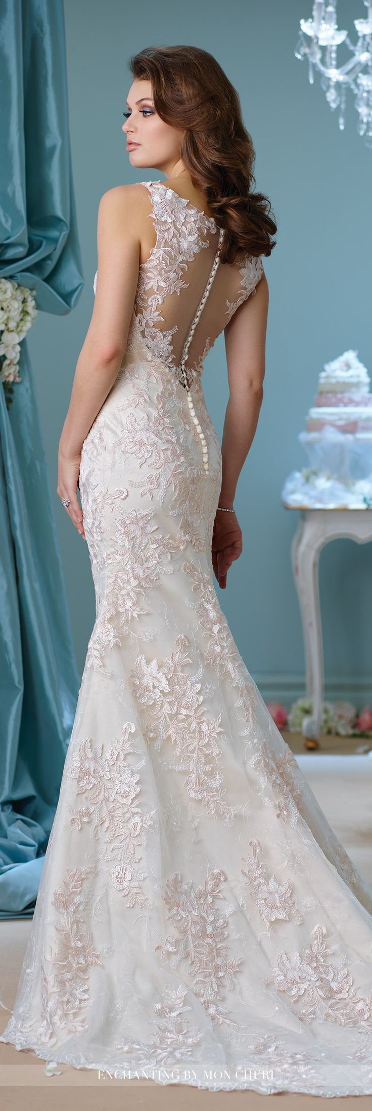 Spectacular Embroidered Trumpet Wedding Dress Enchanting by Mon Cheri