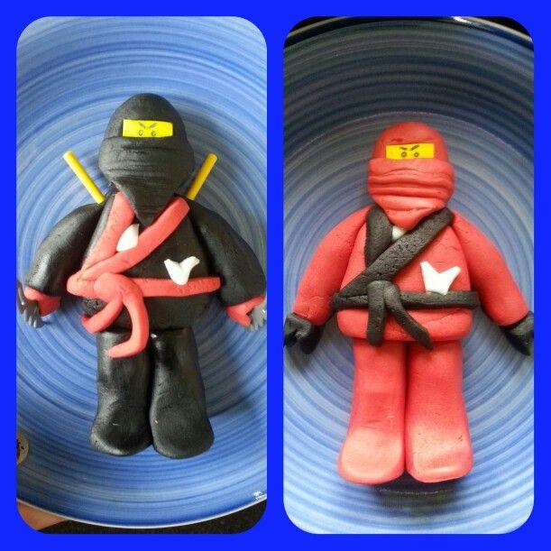 Ninjago lego men cake toppers made from fondant.