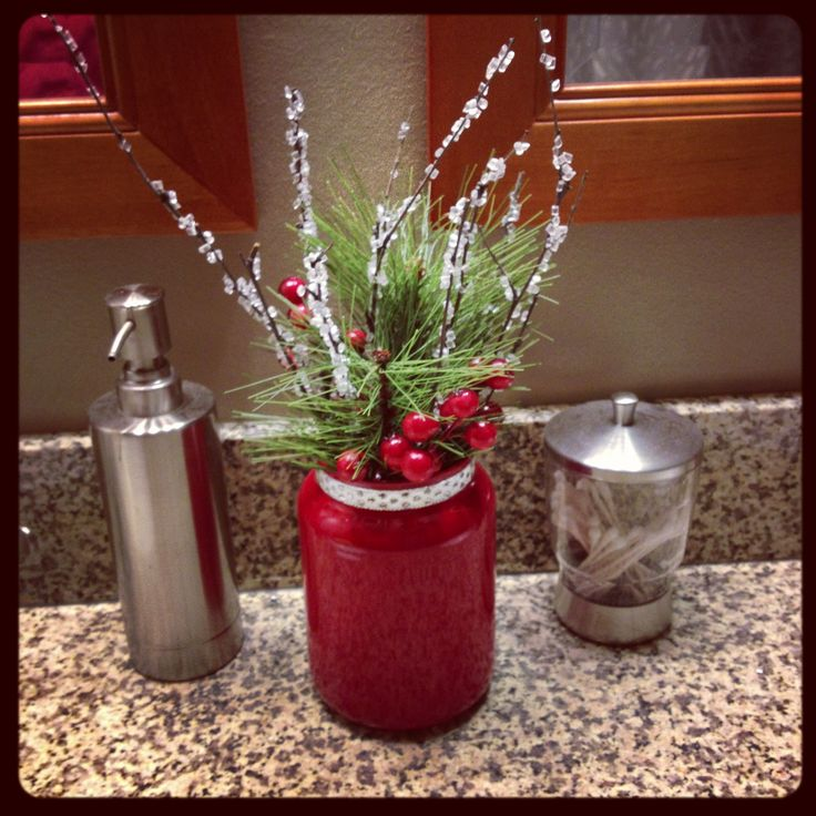 Holiday decor from an old yankee candle jar for the home for Candle craft ideas
