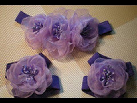 Цветок-повязка для волос и украшение на ножки для малышки своими руками....
