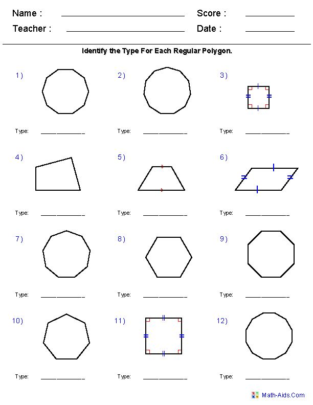 Identify Quadrilaterals And Polygons Worksheets Geometry Worksheets Regular Polygon Teaching Math