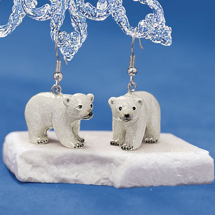 Handpainted Porcelain Polar Bear Earrings - Earrings, Necklaces, Rings, Bracelets, Pendants and More - Unique Jewelry at Affordable Prices | Nature's Jewelry