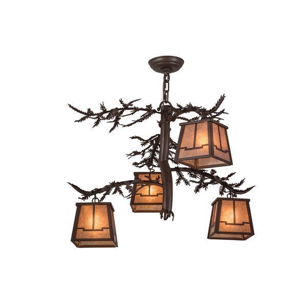 Bring the natural charm of the forest indoors with this perfect complement to your camp, lodge, home, restaurant or hotel. Four silver mica lanterns adorn the pine branch shaped arms of this unique chandelier. This stunning fixture features pine branch, pine needles and hardware featured in a cafe noir finish. Energy efficient clamping options are offered.