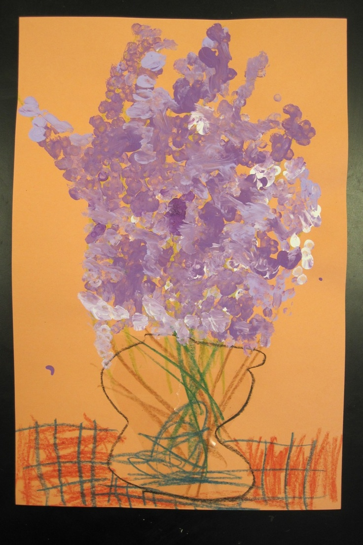 There's a Dragon in my Art Room: Lovely Lilacs - Q-tip Paintings by