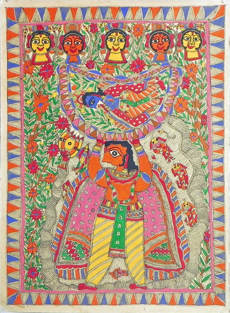 Basudev Carrying New Born Krishna (Madhubani Folk Art on Paper - Unframed)