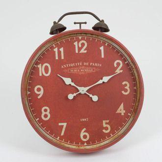 Horloge murale en métal ronde forme réveil rouge D.60cm ANTIQUITES
