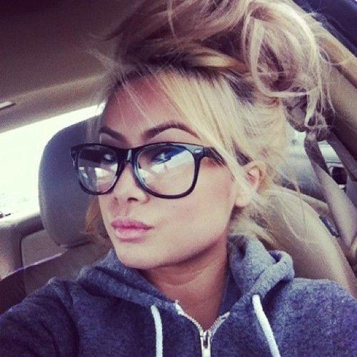 Messy hair, big glasses, and lipgloss <3