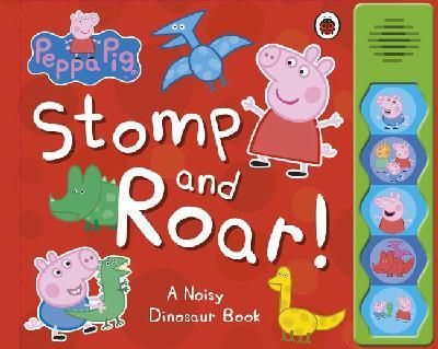 """My kids and their friends love this """"Peppa Pig: Stomp And Roar!"""" book. Peppa is incredibly popular with the pre-school crowd and this book is all about her, George and their friends going on a big adventure to Grampy Rabbit's Dinosaur Park. There are 5 buttons to press for sounds including the Dinosaur Stomp song."""