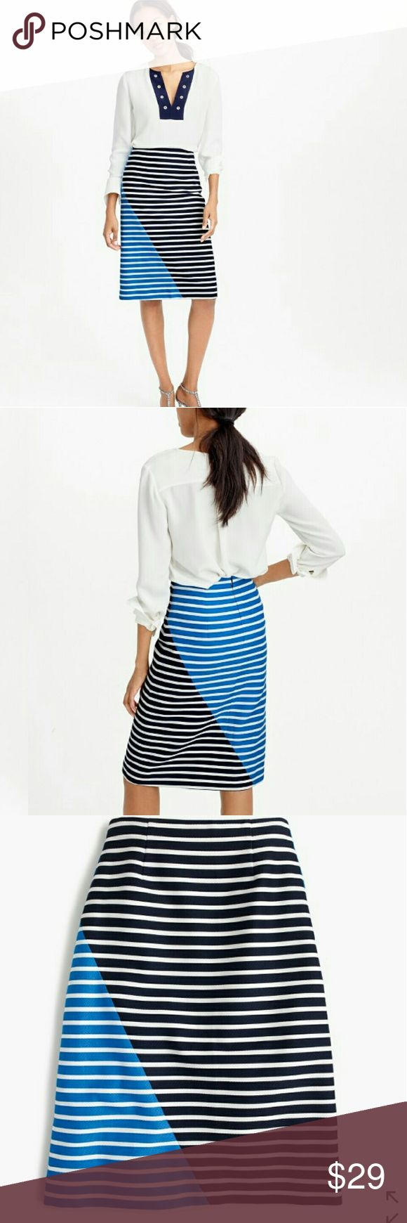 J.CREW Color-Block Stripes Pencil Skirt J.CREW Color-Block Stripes Pencil Skirt. Great Condition! 100% Cotton.  *pics from Jcrew.com. J. Crew Skirts Pencil
