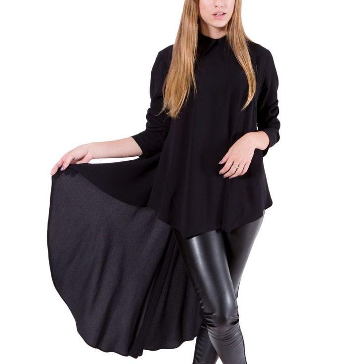 ZINO JORDAN Γυναικεία μαύρη ασύμμετρη πουκαμίσα