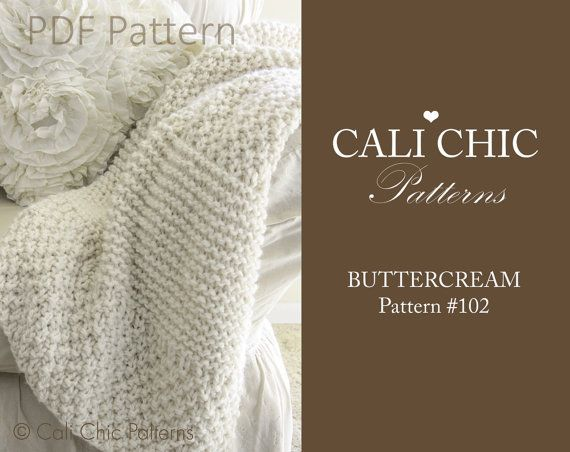 This is for BEGINNER Knitters!  PDF PATTERN of how to make the Buttercream Blanket. NOT A PHYSICAL BLANKET FOR SALE.  ♥ Beginner Knitting blanket pattern for a super simple, yet classy and creamy soft blanket. Pattern makes a baby blanket and also a larger sofa throw blanket. It will be a welcome gift for new moms, or a keepsake for use in your own home.  ♥ Pattern provided has instructions for two (2) sizes: approximately 27 X 32 inches and 40 x 48 inches, knit with specified yarn and…
