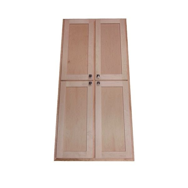 WG Wood Products Wood 72-inch 3.5-inch Deep Recessed Craftsman 4-door Pantry Storage Cabinet