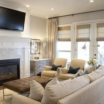 TV Over Fireplace, Transitional, Living Room, Alice Lane Home Gallery