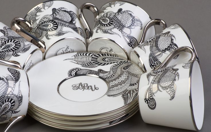 Hand painted tea set  Bone porcelain Monogram