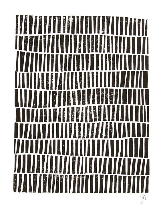 LINOCUT PRINT  geometric pattern  black block by thebigharumph, $22.00