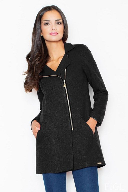 Black coat women's with wool inner lining