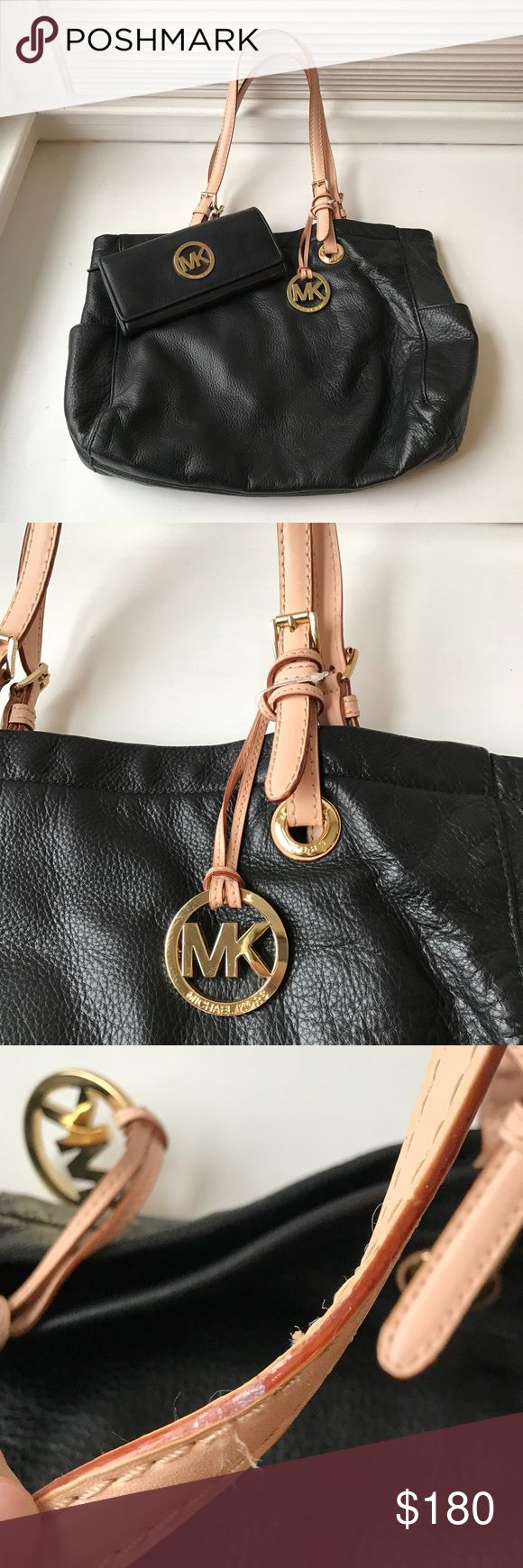 Michael Kors Black Bag Wallet Matching Set Authentic Michael Kors Bag and matching Wallet, purchased directly from the Michael Kors outlet and paid far more than the items were used, no real signs of wear except the wallet zipper sometimes falls off the tracks but easily fixable! Would happily separate and sell separately! Michael Kors Bags Shoulder Bags
