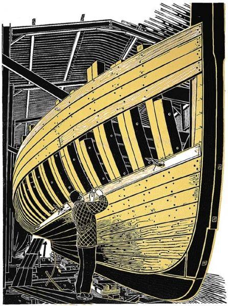 """Pioneer Planking"" linocut by James Dodds RCA (b.1957). www.jamesdodds.co.uk Tags: Linocut, Cut, Print, Linoleum, Lino, Carving, Block, Woodcut, Helen Elstone, Boat, man."