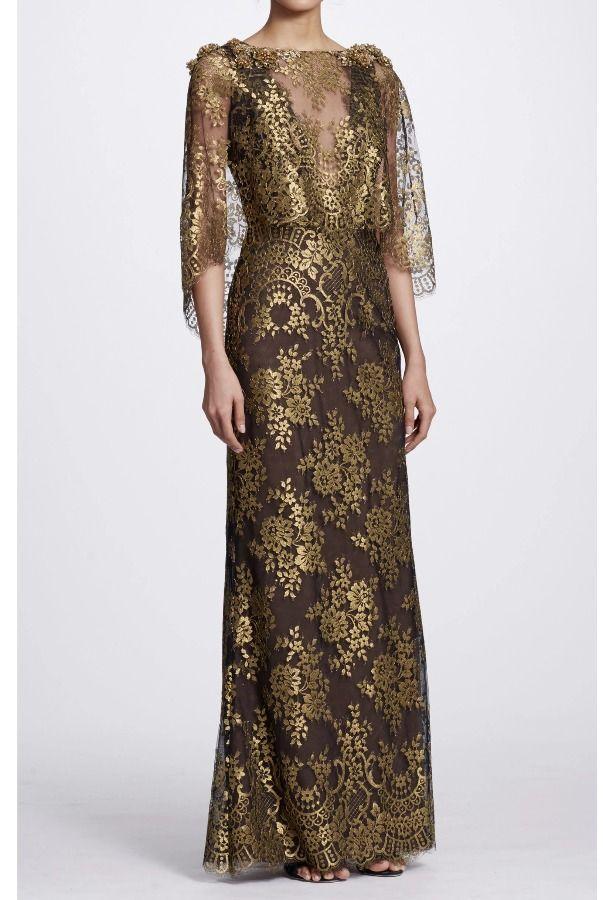 8ef4cb7040 Marchesa Black Gold Metallic Chantilly Lace Gown | Poshare | Dresses ...