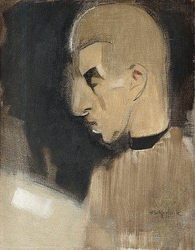 """Хелене Шерфбек Финляндии 1862-1946 """"Hyresvärden I"""" (арендодатель). (D) Подписано H. Шерфбек. Выполнено 1928. Дублированная холста 48,5 х 38,5 см ..."""