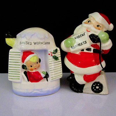 HTF~SANTA'S WORKSHOP & ELF~Vintage Christmas Salt And Pepper S&P Shaker Set Pots