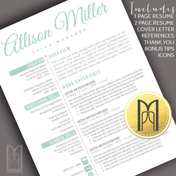 Resume Template and Cover Letter Template | Professional Creative Modern Resume Template | WORD | DIY Printable 4 pk |Instant Download No.10