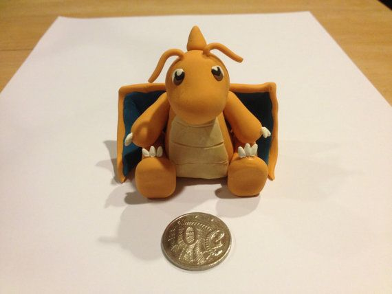 Polymer clay Dragonite Figurine by PolymerParrot on Etsy