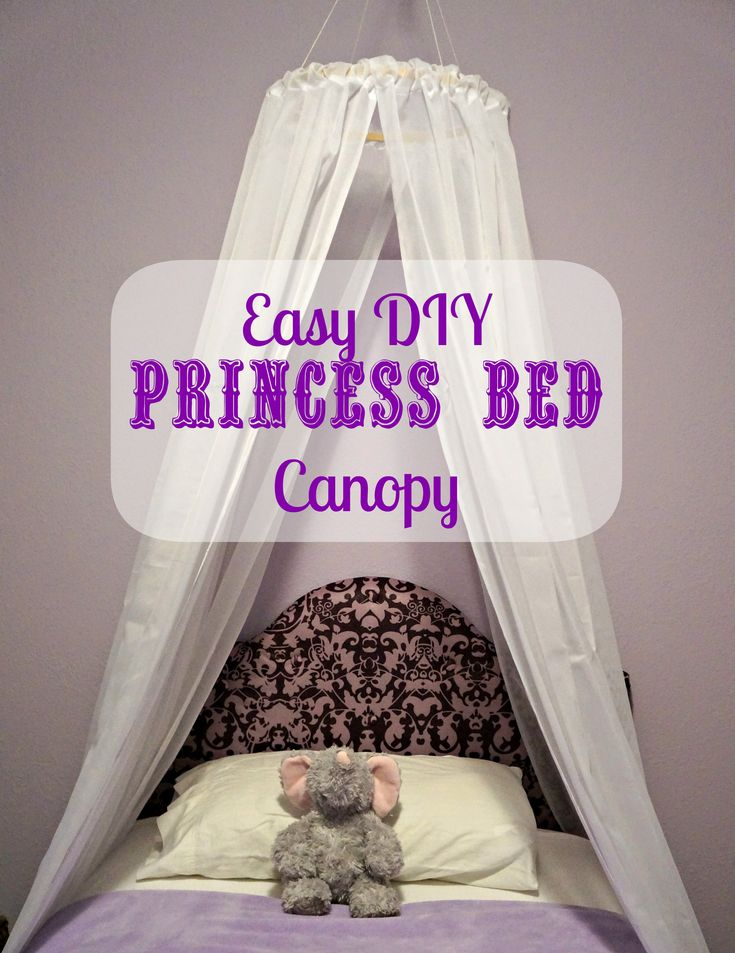"""DIY Easy Princess Bed Canopy I'm thinking about doing this in rainbow colors with a """"cloud"""" on the top that has twinkle lights in it"""
