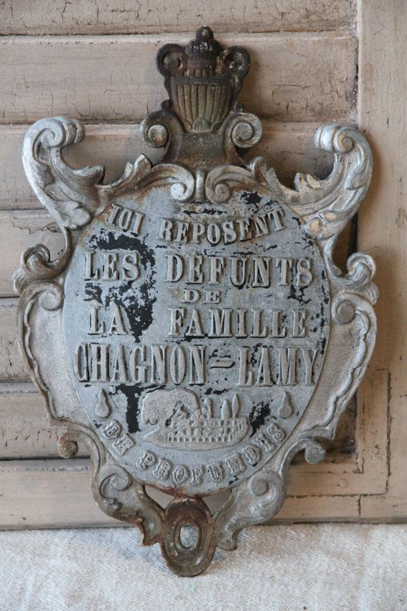 Extra large ornate French memorial plaque by BrocanterieBelleAmi