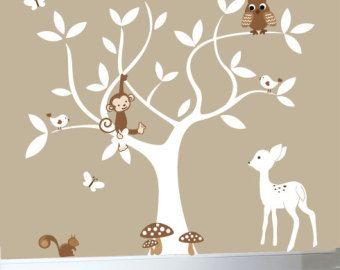 Witte boom muur sticker met uilen en vogels muur door couturedecals